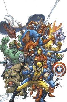 The cover to the first issue, it was a little pain to do cuz of the amount of characters and some of them i didnt even know what colors were they (Wolve. Marvel Team Up cover Marvel Comics Art, Marvel Vs, Marvel Heroes, Comic Book Heroes, Comic Books Art, Comic Art, Book Art, Marvel Comic Character, Marvel Characters