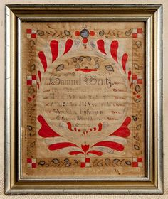 """Realized Price: $360 Samuel Bentz (Lancaster County, Pennsylvania 1792-1850), ink and watercolor fraktur marriage certificate, dated 1824, 10"""" x 8""""."""
