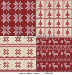 Set of traditional christmas knitted Scandinavian seamless patterns by alicedaniel, via ShutterStock