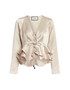 Alexis Reagan Deep V Ruffled Silk Top Satin Top, Silk Top, Silk Satin, Look Fashion, Womens Fashion, Fashion Design, Formal Tops, Rocker, Looks Chic