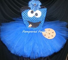 Cookie Monster inspired tutu dress - Monster tutu  - Halloween - Birthday costume size newborn to 4t - costume