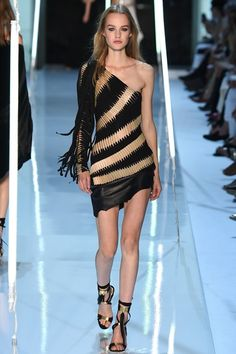 Avant Gard One Sleeve Black Dress with Golden Accents by Sfilata Alexandre Vauthier Parigi - Alta Moda Autunno-Inverno 2015-16 - Vogue