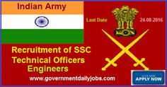 INDIAN ARMY RECRUITMENT 2016 TECHNICAL OFFICERS POSTS ~ Government Daily Jobs