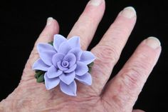 Adjustable Floral Cold Porcelain Cocktal Ring - pinned by pin4etsy.com