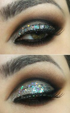 make-up, eyes, glitter, gray
