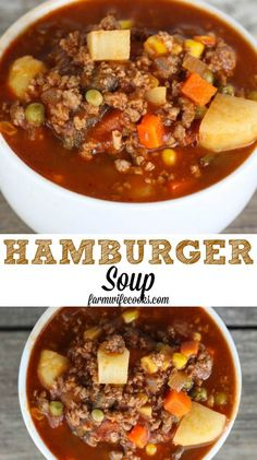 Hamburger Soup is a quick and easy meal idea packed with vegetables, ground beef, beef broth and tomato juice. Hamburger Soup uses ingredients you probably already have at home and it freezes well! meals with ground beef Hamburger Soup Beef Soup Recipes, Healthy Soup Recipes, Cooking Recipes, Recipes Using Beef Broth, Chicken Recipes, Hamburg Soup Recipes, Salad Recipes, Cooking Corn, Juicer Recipes