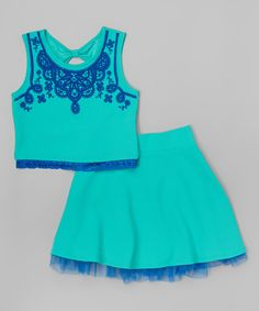 Look at this Beautees Aqua Green & Blue Lace Crop Top & Skirt on #zulily today!