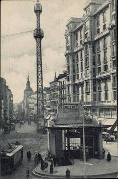 calle de la montera, templete de a. palacios y torre de comunicaciones de telefónica, entre 1921 y 1928 (fuente: memoriademadrid.es)