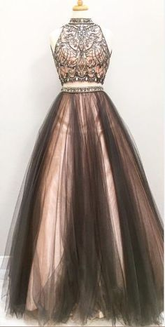 Prom Dresses,prom gown,two pieces tulle long prom dress, black prom gowns by DestinyDress, $177.31 USD
