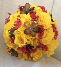 Watford football team colours brides bouquet with black jewellery by cathey's flowers