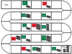 Legospel gemaakt... ganzenbord waarbij ze als ze op + vakje komen elke keer een blokje bij hun toren moeten doen en - vakje blokjes wegnemen...