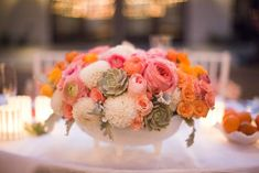 PALM SPRINGS WEDDING: COLORFUL WHIMSY AT THE VICEROY | Palm Springs wedding flowers (succulents, ranunculus, dahlias, garden roses in milk glass)  |  www.palmspringsstyle.com  Images @ Annie McElwain  Event Design: Green Ribbon Party Planning Co.