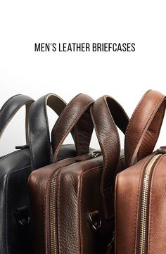 This smooth leather briefcases have a minimal profile offset with slim handles and an adjustable shoulder strap. #officestyle #fashion #mensgift #giftforhim #personalized #leather #briefcase #menstyle #workbag