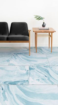 Children's bedrooms can now also be modern and stylish thanks to Dream's Marbelised Watercolour Tile Effect Flooring. The flowing light blue watercolour patterns of the Dream tile effect flooring will let your little one's creativity go wild… And rest assured, this flooring is printed on completely durable, waterproof, luxury vinyl material. Paired with the right accessories and furniture, this floor can look super stylish and modern, with little effort and cost.