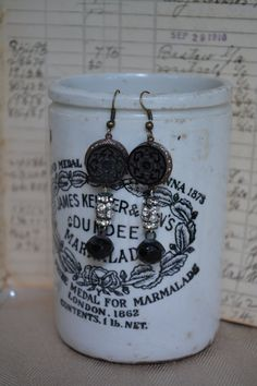 Victorian Button Earrings  Upcycled Jewelry by TheGildedGypsies, $46.00