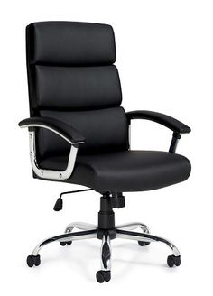 Global OTG Conference Chair Is A Segmented Cushion Chair With Black Luxhide  Upholstery. It Has