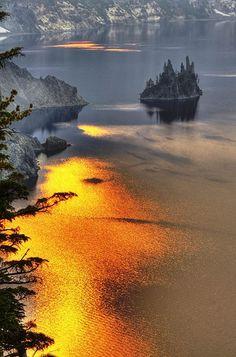 phantom ship island. crater lake national park, oregon