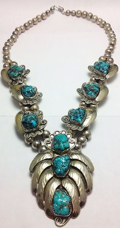 OLD Pawn Rare Vintage Navajo Turquoise Silver Squash Blossom | eBay