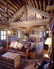 log cabin guest house, love the open feeling in a small house.