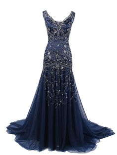 Stunning Mermaid V Neck Tulle Long Prom Dress With Embroidery