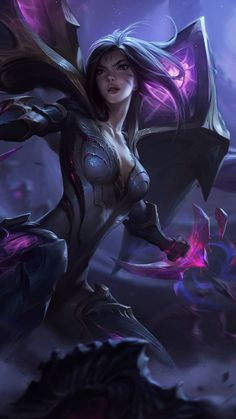 Girl warrior, Kai'Sa, League of Legends, online game, dark, 720x1280 wallpaper