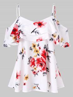 Summer Women Floral Printing Off Shoulder Shirt Sleeveless Vest Tank Tops Blouse shirts women 2018 Ladies Clothing Female Blusas Cold Shoulder Shirt, Shoulder Shirts, Shoulder Tops, White Ruffle Blouse, Floral Blouse, Floral Tights, Saree Floral, Floral Sweater, Floral Dresses