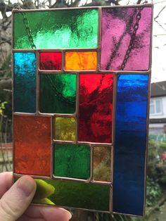 Multi Coloured Copper Abstract Stained Glass Suncatcher Art Panel Handmade Stained Glass Panel - designsinglass - CRhodesGlassArt