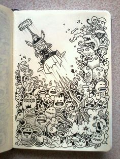 'DAILY DOODLES #7 | Thor versus doodle monsters. :-)'