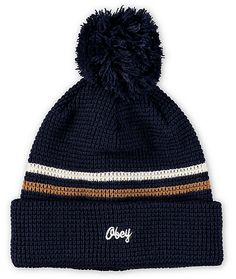 Stay warm while improving your look with a thermal knit design that sports an orange and white stripe upper with a navy pom on top.