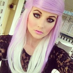 Lilac purple hair and makeup