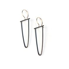 Oxidized sterling silver long loop earring with 14 kt gold fill ear wire from Marja Germans Gard Studio