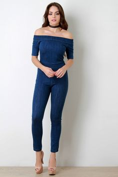 e36c4d71d37a Folded Off-The-Shoulder Washed Denim Jumpsuit Denim Jumpsuit