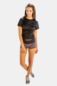 Enjoy 25% Discount on Glossy Black Half Sleeve Tees for Women 2017