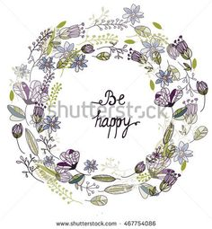 Decorative background with flowers and leaves and a circle on a white background
