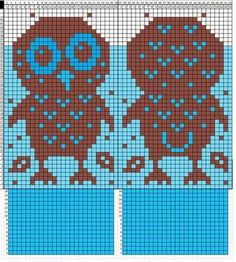 No instructions for mittens, just graphed owl chart to add to your own mitten pattern. Owl Knitting Pattern, Knitted Mittens Pattern, Knitting Charts, Knit Mittens, Knitting Stitches, Knitting Designs, Knitting Yarn, Baby Knitting, Crochet Chart