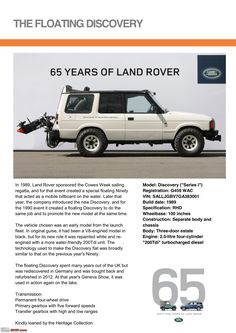 Land Rover is a car brand that specialises in four-wheel-drive vehicles, owned by British multinational car manufacturer Jaguar Land Rover, which has been Advertising History, Car Advertising, Range Rover Off Road, Land Rover Discovery 1, 65th Anniversary, Jaguar Land Rover, Old Ads, Land Rover Defender, Cool Trucks