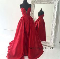 Red Sweetheart Long Prom Gown,Prom Dress #prom #promdress #longprom