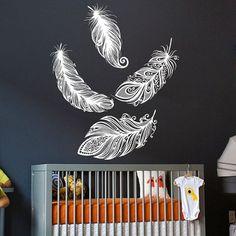 Wall Decal Vinyl Sticker Decals Art Home Decor Design Mural Bird Feather Feathers Children Gift Bedroom Dorm Nursery Children Kids AN137