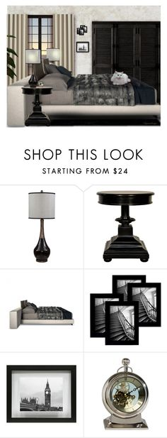 """""""COMFY BEDROOM"""" by arjanadesign ❤ liked on Polyvore featuring interior, interiors, interior design, home, home decor, interior decorating, Basset Mirror Company, Noir, Room Essentials and Ethan Allen"""