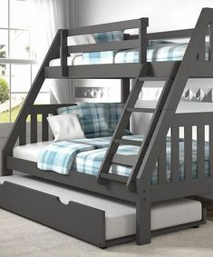 Purple Modern Gray Bunk Bed with trundle bed - bunk beds Twin Full Bunk Bed, Bunk Bed With Slide, Bunk Beds For Boys Room, Bunk Bed Rooms, Bed For Girls Room, Bunk Beds With Storage, Modern Bunk Beds, Bunk Bed With Trundle, Home Furniture