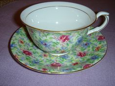 Taylor and Kent Longton England,  Bone China Chintz Pattern Cup and Saucer. $40
