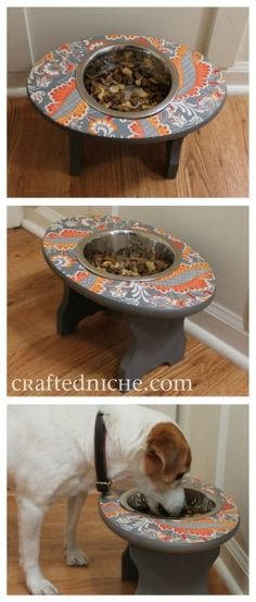 Here is a super cute dog feeder, made using Mod Podge. #modpodge #dogs #crafts