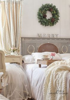FRENCH COUNTRY COTTAGE: Beautiful Holiday Bedroom Decor Ideas !!