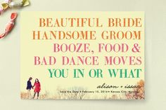 you in or what? save the date cards by hi-lighter for minted. One of the top 10 favorites from @Jess Liu Massoth Bride