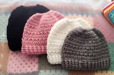 Crochet messy bun ponytail hats beanies