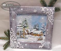Beautiful idea for Christmas Christmas Frames, Christmas Projects, Vintage Christmas, Christmas Holidays, Christmas Decorations, Decoupage Glass, Decoupage Box, Decoupage Vintage, Christmas Scenes Pictures