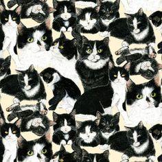 Coleção TUXEDO CATS - Tecidos Importados 100% Algodão para Patchwork - ref.:TCT60012-9