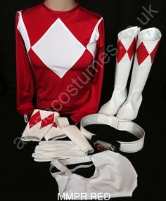 MMPR RED & Power Ranger real leather belt | Arena Costumes Power Rangers ...