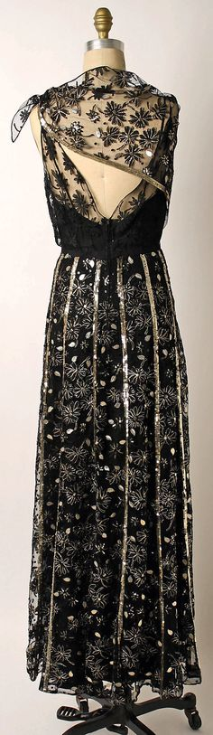 ~Ensemble, Evening.  Mainbocher  (American, 1890–1976).  Date: 1943. Culture: American. Medium: silk, metal, nylon~