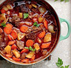 Warm beef stew in brown beer with winter veggies.